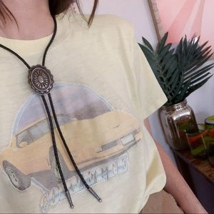 Leather boho western bolo neck tie necklace